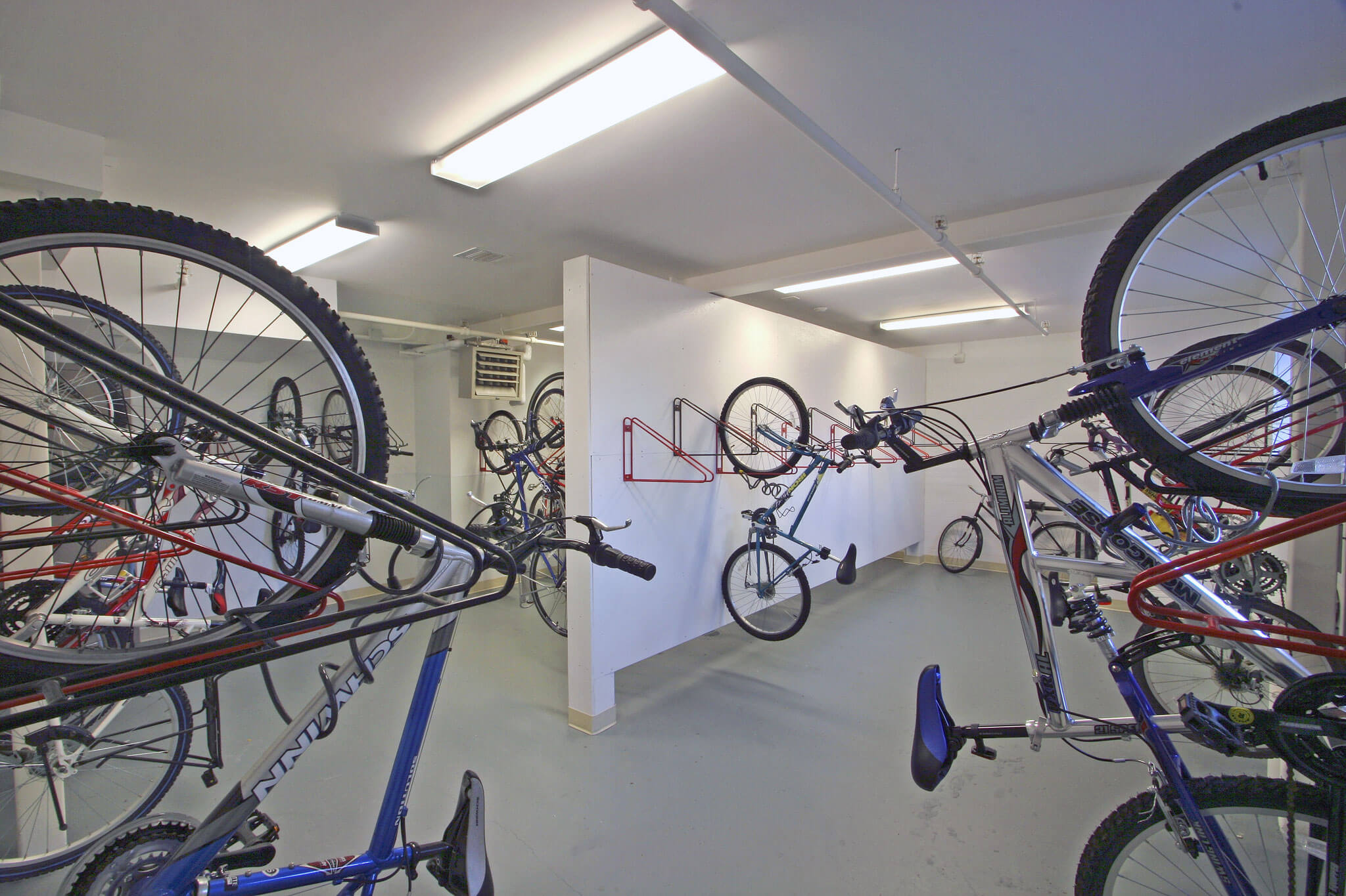 Bike Room with Bike Wall Racks at Wesleyan University