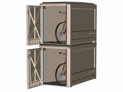 ProPark Double-Tier Bike Lockers, with Doors Open