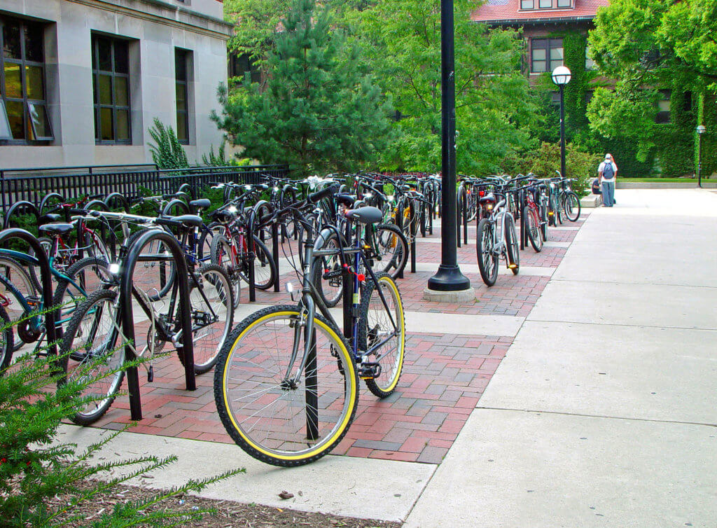 Outdoor, Class II short-term parking bike rack on university campus